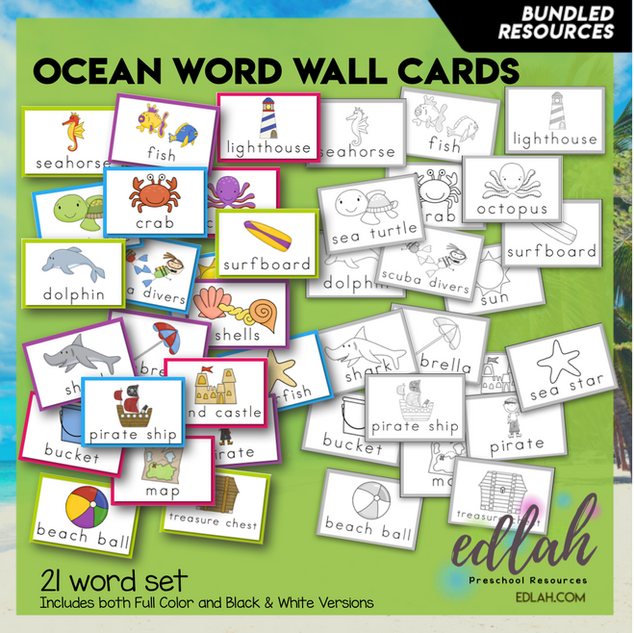 Ocean Vocabulary Word Wall Cards (set of 21) - BUNDLE-Version#1