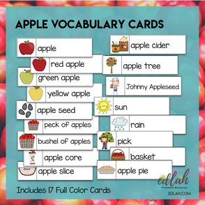 Apples Vocabulary Word Wall Cards (set of 17) - Full Color Version - Version #2