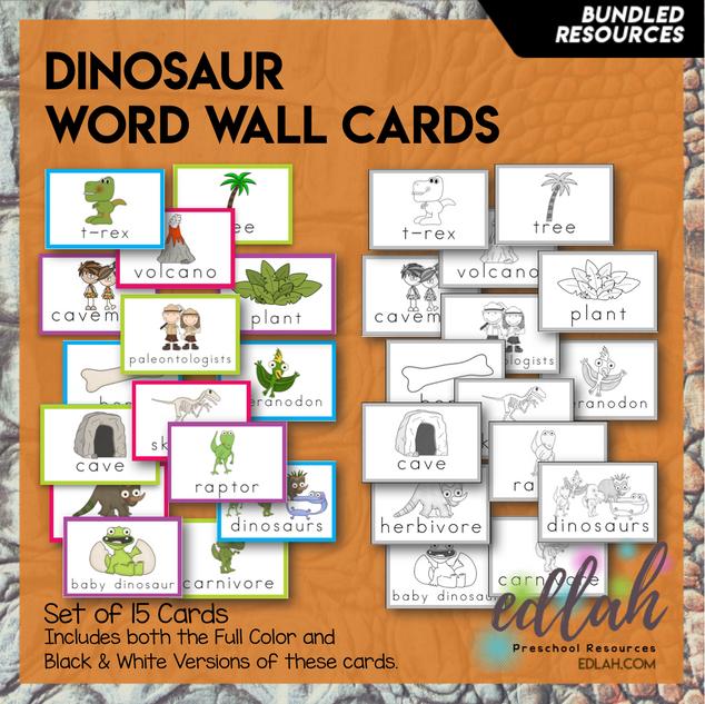 Dinosaur Vocabulary Word Wall Cards (set of 15) - BUNDLE-Version#1