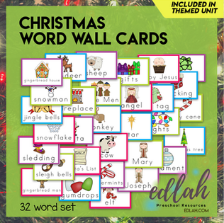 Christmas Vocabulary Word Wall Cards (set of 32) - Full Color -Version#1
