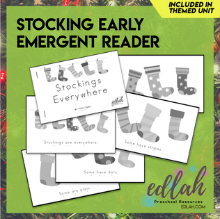 Stockings/Christmas Early Emergent Reader - Grayscale Version