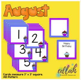 August Calendar Pieces - Ice Cream Themed - AB Pattern