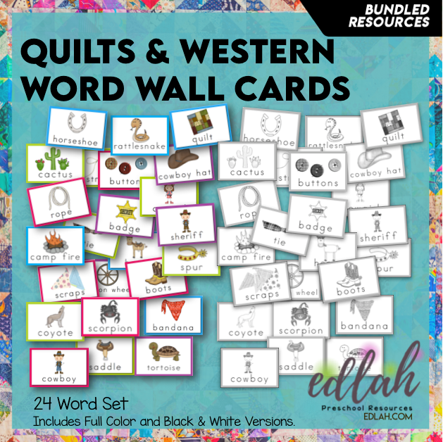 Quilts & Western Vocabulary Word Wall Cards (set of 24) - BUNDLE
