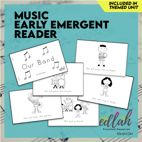 Music Early Emergent Reader - Black & White Version