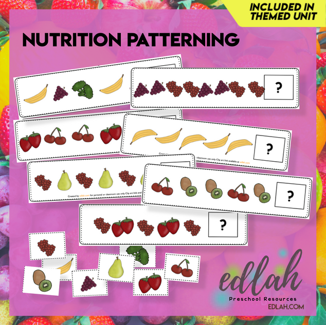 Nutrition/Food Patterning Cards - Full Color Version