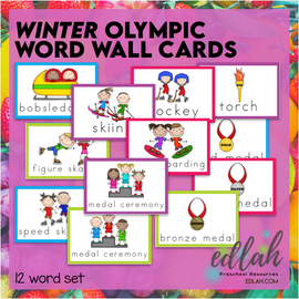 WINTER Olympic Vocabulary Word Wall Cards (set of 12)- Full Color - Version#1