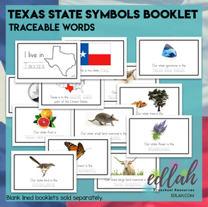 Texas State Symbols Booklet - Traceable Words