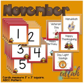November Calendar Pieces - Thanksgiving Turkey Themed - ABCC Pattern
