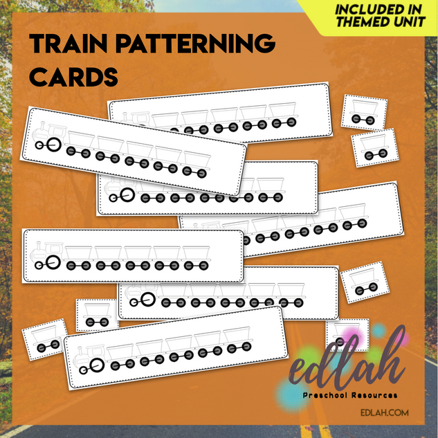 Train Patterning Cards - Black & White Version