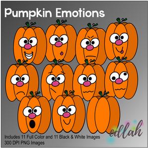 Pumpkin Emotions Face Clip Art