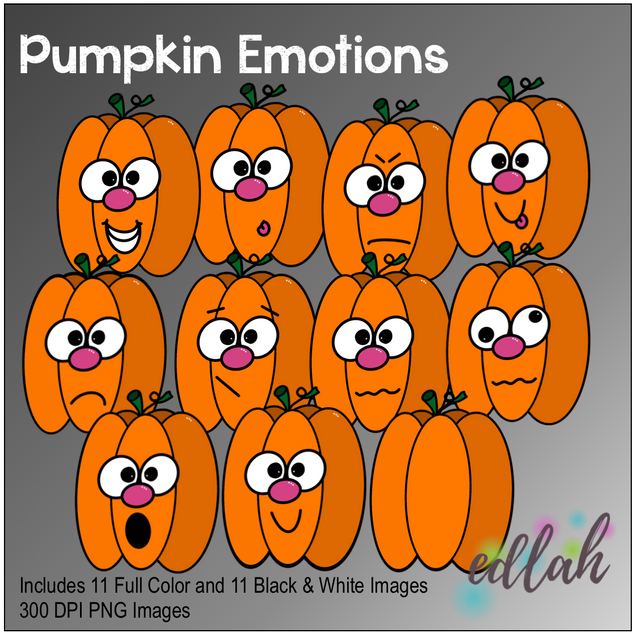 Pumpkin Emotions Face Clip Art
