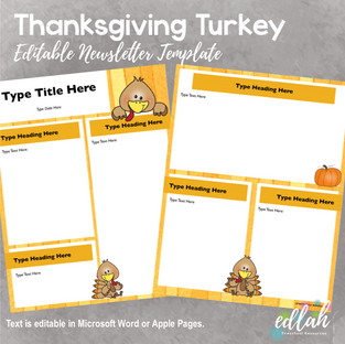 Thanksgiving Turkey Newsletter for WORD or PAGES