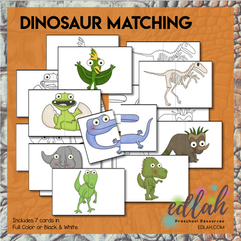 Dinosaur Matching Cards for Pocket Charts