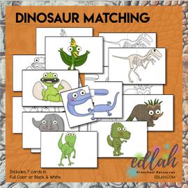 Dinosaur Matching Cards for Pocket Charts