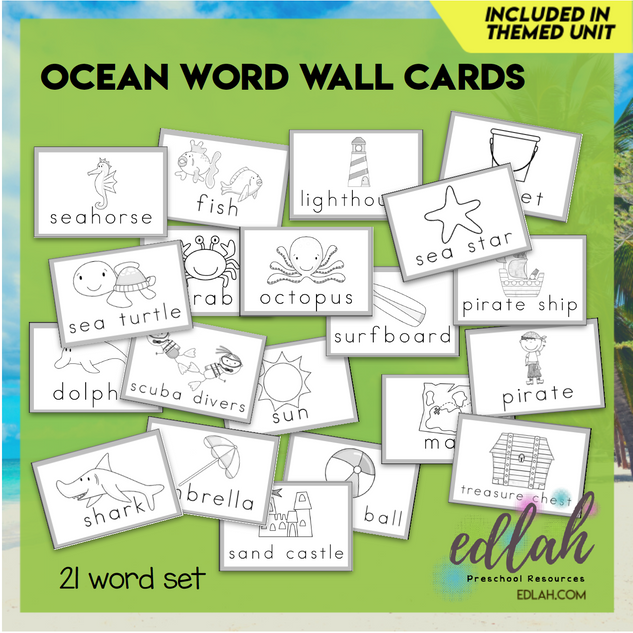 Ocean Vocabulary Word Wall Cards (set of 21) - Black & White-Version#1