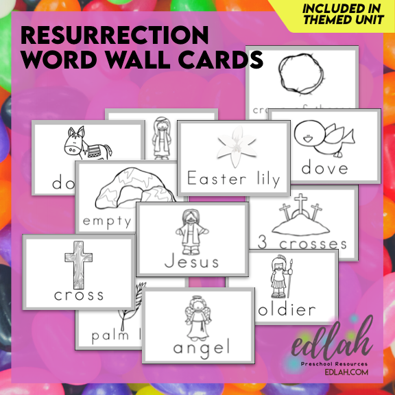 Resurrection/Easter Vocabulary Word Wall Cards(set of 12)Black & White-Version#1