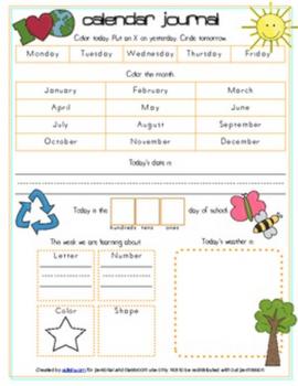 Earth Day Calendar/Circle Time Journal Sheet