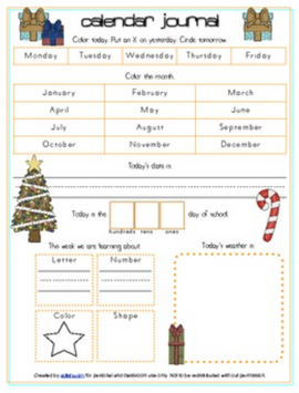 Christmas Calendar/Circle Time Journal Sheet