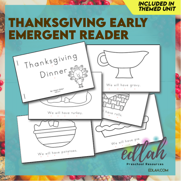 Thanksgiving Early Emergent Reader - Black & White Version