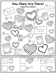 """Valentines Day """"How Many Are There"""" Activity Sheet"""