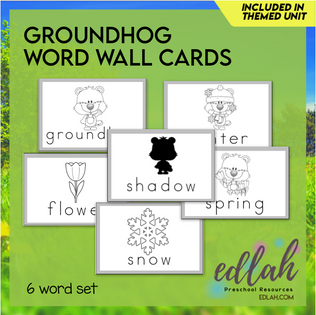 Groundhog Vocabulary Word Wall Cards (set of 6) - Black & White -Version#1