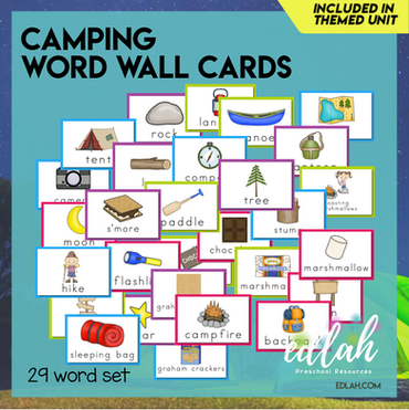 Camping Vocabulary Word Wall Cards (set of 29)