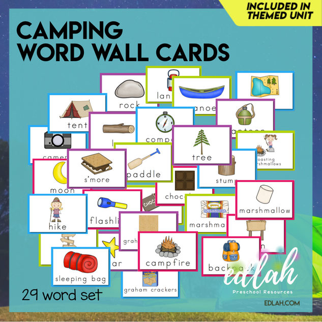Camping Vocabulary Word Wall Cards (set of 29) - Full Color -Version#1