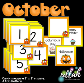 October Calendar Pieces - Pumpkin Themed - AABB Pattern
