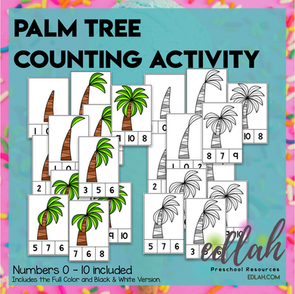 Palm Tree Clothes Pin Counting Activity - Numbers 0-10