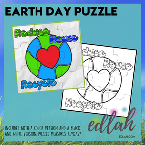 Earth Day Printable Puzzle - Reduce, Reuse, Recycle
