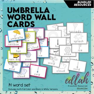 Umbrella/Weather Vocabulary Word Wall Cards (set of 14) - BUNDLE-Version#1