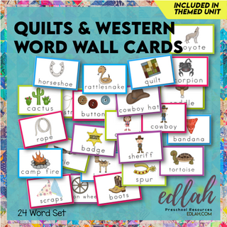 Quilts & Western Vocabulary Word Wall Cards (set of 24) - Full Color -Version#1