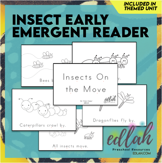 Insects Early Emergent Reader - Black & White Version