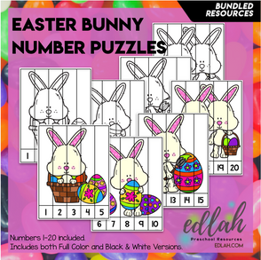 Easter Bunny Number Puzzles (1-20)
