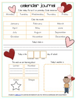 Valentine's Day Calendar/Circle Time Journal Sheet