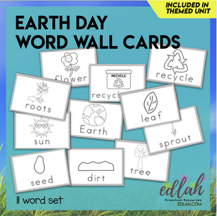 Earth Day Vocabulary Word Wall Cards (set of 11) - Black & White -Version#1