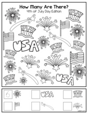 "4th of July ""How Many Are There"" Activity Sheet"