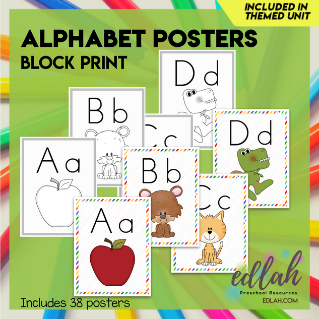 "A-Z Alphabet Posters Block Print 8.5""x11"" - Distance Learning"