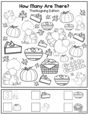 """Thanksgiving """"How Many Are There"""" Activity Sheet"""