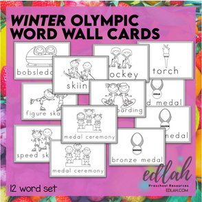WINTER Olympic Vocabulary Word Wall Cards (set of 12)-Black & White-Version#1