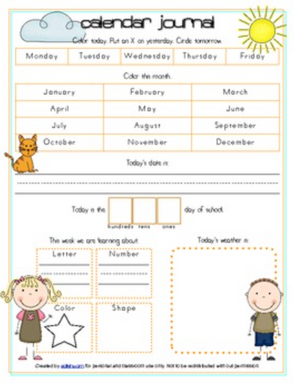 All About Me or Family (Caucasian) Calendar/Circle Time Journal Sheet