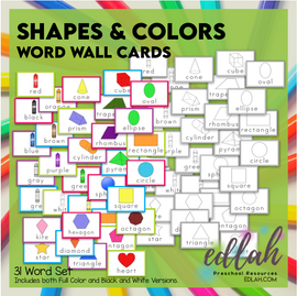 Shape and Color Vocabulary Word Wall Cards (set of 31) - BUNDLE-Version #1