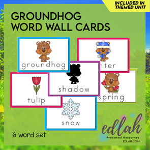 Groundhog Vocabulary Word Wall Cards (set of 6) - Full Color -Version#1