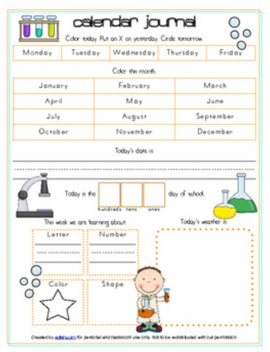 Yucky Experiments/Science Calendar/Circle Time Journal Sheet