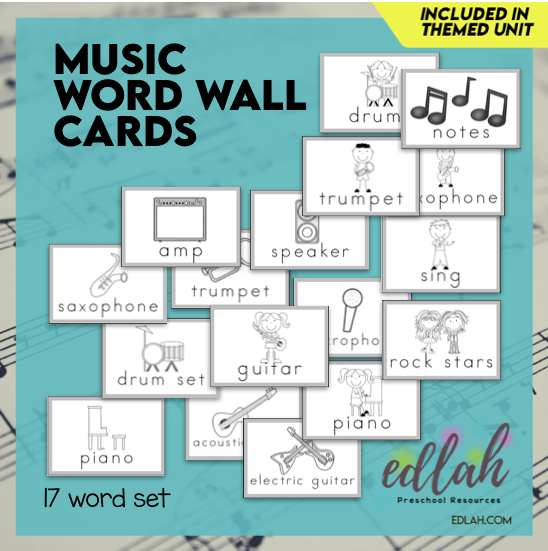 Music Vocabulary Word Wall Cards (set of 17) - Black & White Version-Version#1