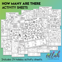 """Holiday Bundle - """"How Many Are There"""" Activity Sheets - Distance Learning"""