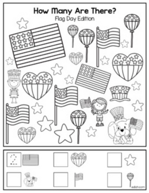 "Flag Day ""How Many Are There"" Activity Sheet"