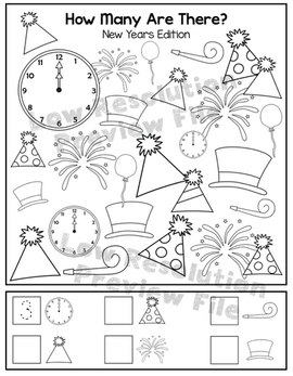"""New Years """"How Many Are There"""" Activity Sheet"""
