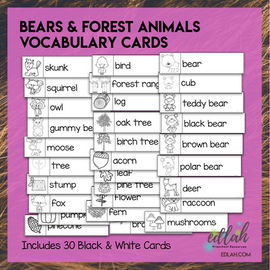 Bear Vocabulary Word Wall Cards (set of 30) - Black and White - Version #2