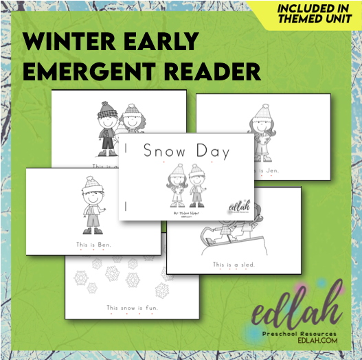 Winter/Snow Early Emergent Reader - Black & White Version